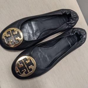 Tory Burch Leather Minnie Travel Flats Black Gold
